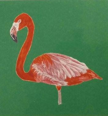 Flamingo mit grünem Hintergrund Druck A5