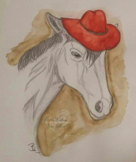 Pferd mit Hut A5